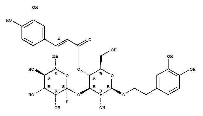 61276-17-3,Verbascoside,b-D-Glucopyranoside, 2-(3,4-dihydroxyphenyl)ethyl3-O-(6-deoxy-a-L-mannopyranosyl)-,4-[3-(3,4-dihydroxyphenyl)-2-propenoate], (E)-;Acteoside;Kusaginin;NSC603831;Russetinol;TJC 160;