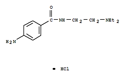 614-39-1,Benzamide,4-amino-N-[2-(diethylamino)ethyl]-, hydrochloride (1:1),Procamid;Procamide;Procan SR;Procapan;Procardyl;Pronestyl;Pronestyl hydrochloride;Spicain amide;Benzamide,4-amino-N-[2-(diethylamino)ethyl]-, monohydrochloride (9CI);Benzamide, p-amino-N-[2-(diethylamino)ethyl]-,monohydrochloride (8CI);4-Amino-N-[2-(diethylamino)ethyl]benzamidemonohydrochloride;Amidoprocaine;Amisalin;Cardiorytmin;HC 5006;Novocaineamide hydrochloride;Novocamid hydrochloride;Procainamidemonohydrochloride;
