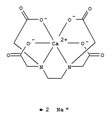 Molecular Structure of 62-33-9 (Calciate(2-),[[N,N'-1,2-ethanediylbis[N-[(carboxy-kO)methyl]glycinato-kN,kO]](4-)]-, sodium (1:2), (OC-6-21)-)