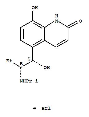 CAS NO:62929-91-3 2(1H)-Quinolinone,8-hydroxy-5-[(1R,2S)-1-hydroxy-2-[(1-methylethyl)amino]butyl]-, hydrochloride(1:1), rel- Molecular Structure