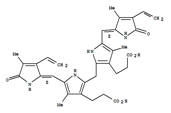 Molecular Structure of 635-65-4 (21H-Biline-8,12-dipropanoicacid,2,17-diethenyl-1,10,19,22,23,24-hexahydro-3,7,13,18-tetramethyl-1,19-dioxo-)