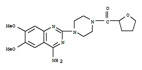 63590-64-7,Methanone,[4-(4-amino-6,7-dimethoxy-2-quinazolinyl)-1-piperazinyl](tetrahydro-2-furanyl)-,Piperazine,1-(4-amino-6,7-dimethoxy-2-quinazolinyl)-4-[(tetrahydro-2-furanyl)carbonyl]-(9CI);1-(4-Amino-6,7-dimethoxy-2-quinazolinyl)-4-(tetrahydro-2-furoyl)piperazine;1-(4-Amino-6,7-dimethoxyquinazolin-2-yl)-4-[(2,3,4,5-tetrahydrofuran-2-yl)carbonyl]piperazine;Terazosin;Fosfomic;Vasomet;Terazosina;Terazosine;Flumarc;Blavin;