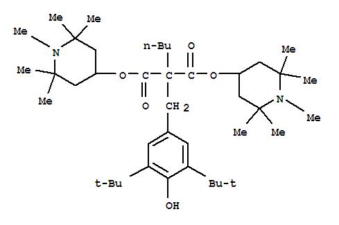 CAS NO:63843-89-0 Propanedioic acid,2-[[3,5-bis(1,1-dimethylethyl)-4-hydroxyphenyl]methyl]-2-butyl-,1,3-bis(1,2,2,6,6-pentamethyl-4-piperidinyl) ester Molecular Structure