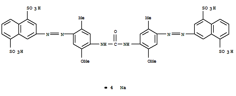 CAS NO:6420-33-3 1,5-Naphthalenedisulfonicacid,3,3'-[carbonylbis[imino(5-methoxy-2-methyl-4,1-phenylene)-2,1-diazenediyl]]bis-,sodium salt (1:4) Molecular Structure