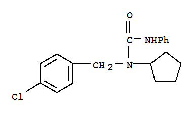Molecular Structure of 66063-05-6 (Urea,N-[(4-chlorophenyl)methyl]-N-cyclopentyl-N'-phenyl-)