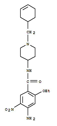 66564-14-5,Benzamide,4-amino-N-[1-(3-cyclohexen-1-ylmethyl)-4-piperidinyl]-2-ethoxy-5-nitro-,Cinitapride;