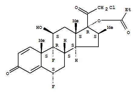 66852-54-8,Pregna-1,4-diene-3,20-dione,21-chloro-6,9-difluoro-11-hydroxy-16-methyl-17-(1-oxopropoxy)-, (6a,11b,16b)-,BMY30056;CGP 14458;Miracorten;Ulobetasol propionate;Ultravate;