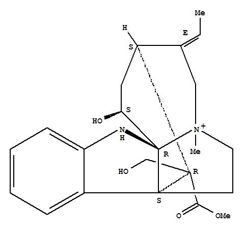 Molecular Structure of 6871-44-9 (13H-3,8a-Methano-1H-azepino[1',2':1,2]pyrrolo[2,3-b]indolium,4-ethylidene-2,3,4,5,7,8-hexahydro-1-hydroxy-14-(hydroxymethyl)-14-(methoxycarbonyl)-6-methyl-,(1S,3S,4E,8aS,13aR,14R)-)