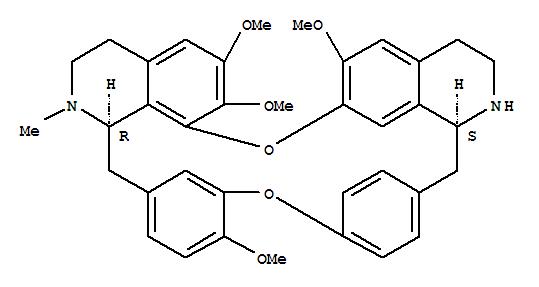 70191-82-1,16H-1,24:6,9-Dietheno-11,15-metheno-2H-pyrido[2',3':17,18][1,11]dioxacycloeicosino[2,3,4-ij]isoquinoline,3,4,4a,5,16a,17,18,19-octahydro-12,21,22,26-tetramethoxy-17-methyl-, (4aS,16aR)-(9CI),Berbaman,6,6',7,12-tetramethoxy-2-methyl-;16H-1,24:6,9-Dietheno-11,15-metheno-2H-pyrido[2',3':17,18][1,11]dioxacycloeicosino[2,3,4-ij]isoquinoline,berbaman deriv.; 2'-Demethylisotetrandrine; 2'-Norisotetrandrine; NSC 273752