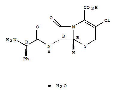 Molecular Structure of 70356-03-5 (5-Thia-1-azabicyclo[4.2.0]oct-2-ene-2-carboxylicacid, 7-[[(2R)-2-amino-2-phenylacetyl]amino]-3-chloro-8-oxo-, hydrate (1:1),(6R,7R)-)