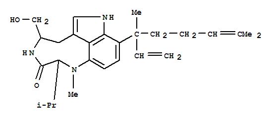 Molecular Structure of 70497-14-2 (3H-Pyrrolo[4,3,2-gh]-1,4-benzodiazonin-3-one,9-[(1R)-1-ethenyl-1,5-dimethyl-4-hexen-1-yl]-1,2,4,5,6,8-hexahydro-5-(hydroxymethyl)-1-methyl-2-(1-methylethyl)-,(2S,5S)-)