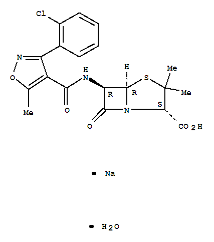 Molecular Structure of 7081-44-9 (4-Thia-1-azabicyclo[3.2.0]heptane-2-carboxylicacid,6-[[[3-(2-chlorophenyl)-5-methyl-4-isoxazolyl]carbonyl]amino]-3,3-dimethyl-7-oxo-,sodium salt, hydrate (1:1:1), (2S,5R,6R)-)