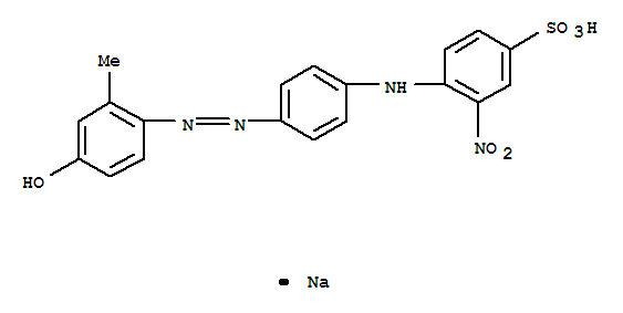 Molecular Structure of 70865-20-2 (Benzenesulfonic acid, 4-[[4-[2-(4-hydroxy-2-methylphenyl)diazenyl]phenyl]amino]-3-nitro-, sodium salt (1:1))