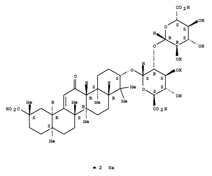 Molecular Structure of 71277-79-7 (a-D-Glucopyranosiduronic acid, (3b,20b)-20-carboxy-11-oxo-30-norolean-12-en-3-yl 2-O-b-D-glucopyranuronosyl-, sodiumsalt (1:2))