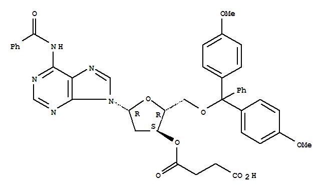 Adenosine,N-benzoyl-5'-O-[bis(4-methoxyphenyl)phenylmethyl]-2'-deoxy-, 3'-(hydrogenbutanedioate)