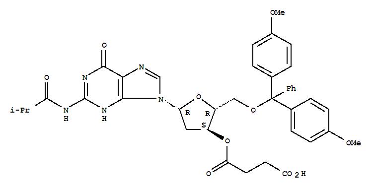 Molecular Structure of 74405-46-2 (Guanosine,5'-O-[bis(4-methoxyphenyl)phenylmethyl]-2'-deoxy-N-(2-methyl-1-oxopropyl)-,3'-(hydrogen butanedioate))