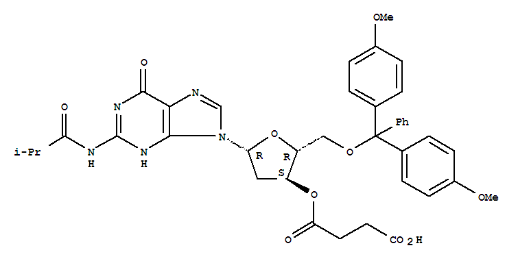 Guanosine,5'-O-[bis(4-methoxyphenyl)phenylmethyl]-2'-deoxy-N-(2-methyl-1-oxopropyl)-,3'-(hydrogen butanedioate)