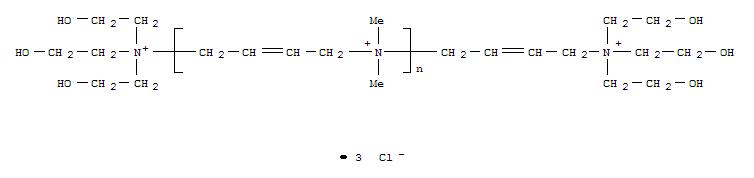 Molecular Structure of 75345-27-6 (Poly[(dimethyliminio)-2-butene-1,4-diylchloride (1:1)], a-[4-[tris(2-hydroxyethyl)ammonio]-2-buten-1-yl]-w-[tris(2-hydroxyethyl)ammonio]-,chloride (1:2))
