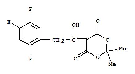 Molecular Structure of 764667-64-3 (1,3-Dioxane-4,6-dione,5-[1-hydroxy-2-(2,4,5-trifluorophenyl)ethylidene]-2,2-dimethyl-)