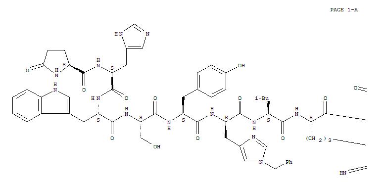 76712-82-8,Histrelin,ORF 17070;RWJ 17070;Vantas;(Des-Gly10,His(Bzl)6,Pro-NHEt9)-LHRH;Luteinizinghormone-releasing factor (pig),6-[1-(phenylmethyl)-D-histidine]-9-(N-ethyl-L-prolinamide)-10-deglycinamide-;1-9-Luteinizinghormone-releasing factor (swine),6-[1-(phenylmethyl)-D-histidine]-9-(N-ethyl-L-prolinamide)-;
