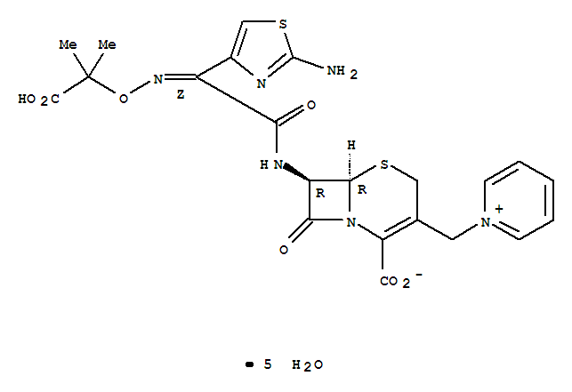 Pyridinium,1-[[(6R,7R)-7-[[(2Z)-(2-amino-4-thiazolyl)[(1-carboxy-1-methylethoxy)imino]acetyl]amino]-2-carboxy-8-oxo-5-thia-1-azabicyclo[4.2.0]oct-2-en-3-yl]methyl]-,inner salt, hydrate (1:5) product picture