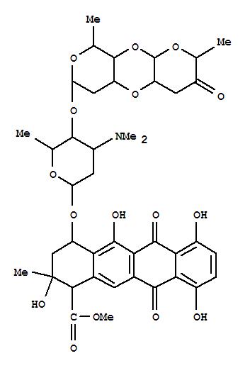 79206-72-7,1-Naphthacenecarboxylicacid, 4-[[O-2''',3''-anhydro-3,6-dideoxy-a-L-erythro-hexopyranos-4-ulos-1-yl-(1®4)-O-2,6-dideoxy-a-D-lyxo-hexopyranosyl-(1®4)-2,3,6-trideoxy-3-(dimethylamino)-a-L-lyxo-hexopyranosyl]oxy]-1,2,3,4,6,11-hexahydro-2,5,7,10-tetrahydroxy-2-methyl-6,11-dioxo-,methyl ester, [1R-(1a,2b,4b)]- (9CI),2H,7H-Dipyrano[2,3-b:4',3'-e][1,4]dioxin,1-naphthacenecarboxylic acid deriv.