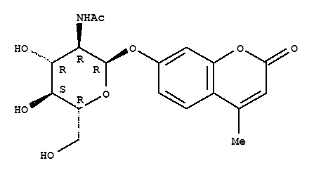 CAS NO:80265-04-9 2H-1-Benzopyran-2-one,7-[[2-(acetylamino)-2-deoxy-a-D-glucopyranosyl]oxy]-4-methyl- Molecular Structure