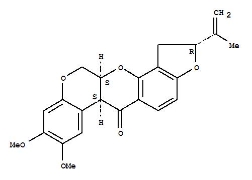 83-79-4,[1]Benzopyrano[3,4-b]furo[2,3-h][1]benzopyran-6(6aH)-one,1,2,12,12a-tetrahydro-8,9-dimethoxy-2-(1-methylethenyl)-, (2R,6aS,12aS)-,Rotenone(7CI);[1]Benzopyrano[3,4-b]furo[2,3-h][1]benzopyran-6(6aH)-one,1,2,12,12a-tetrahydro-8,9-dimethoxy-2-(1-methylethenyl)-, [2R-(2a,6aa,12aa)]-;[1]Benzopyrano[3,4-b]furo[2,3-h][1]benzopyran-6(6aaH)-one, 1,2,12,12aa-tetrahydro-2a-isopropenyl-8,9-dimethoxy-(8CI);(-)-Rotenone;(-)-cis-Rotenone;5'b-Rotenone;Cube-Pulver;Dactinol;Deril;Derrin;Derris;Derris (insecticide);Dri-kil;Liquid Derris;NSC 26258;NSC 8505;Nicouline;Noxfish;Paraderil;Rotenone;