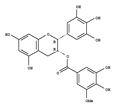 Molecular Structure of 83104-87-4 (Benzoic acid,3,4-dihydroxy-5-methoxy-,(2R,3R)-3,4-dihydro-5,7-dihydroxy-2-(3,4,5-trihydroxyphenyl)-2H-1-benzopyran-3-ylester)