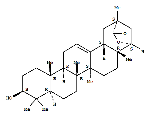 Molecular Structure of 84104-71-2 (Olean-12-en-29-oicacid, 3,22-dihydroxy-, g-lactone, (3b,20a,22a)-)