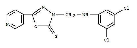 84249-82-1,1,3,4-Oxadiazole-2(3H)-thione,3-[[(3,5-dichlorophenyl)amino]methyl]-5-(4-pyridinyl)-,1,3,4-Oxadiazole-2(3H)-thione, 3-(((3,5-dichlorophenyl)amino)methyl)-5 -(4-pyridinyl)-