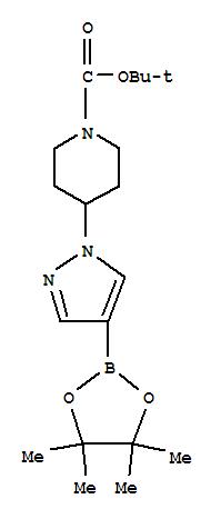 877399-74-1,1-Piperidinecarboxylicacid, 4-[4-(4,4,5,5-tetramethyl-1,3,2-dioxaborolan-2-yl)-1H-pyrazol-1-yl]-,1,1-dimethylethyl ester,1-[1-(tert-Butoxycarbonyl)piperidin-4-yl]-4-(4,4,5,5-tetramethyl-1,3,2-dioxaborolan-2-yl)-1H-pyrazole;4-(4-(4,4,5,5-Tetramethyl-1,3,2-dioxaborolan-2-yl)pyrazol-1-yl)piperidine-1-carboxylicacid tert-butyl ester;4-[4-(4,4,5,5-Tetramethyl[1,3,2]dioxaborolan-2-yl)-1H-pyrazol-1-yl]piperidine-1-carboxylicacid tert-butyl ester;tert-Butyl4-[4-(4,4,5,5-tetramethyl-1,3,2-dioxaborolan-2-yl)-1H-pyrazol-1-yl]piperidine-1-carboxylate;tert-Butyl4-[4-(4,4,5,5-tetramethyl-1,3,2-dioxaborolan-2-yl)pyrazol-1-yl]piperidine-1-carboxylate;