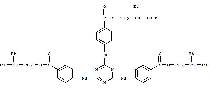 Molecular Structure of 88122-99-0 (Benzoic acid,4,4',4''-(1,3,5-triazine-2,4,6-triyltriimino)tris-, 1,1',1''-tris(2-ethylhexyl)ester)