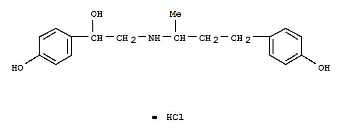 Molecular Structure of 90274-24-1 (Benzenemethanol, 4-hydroxy-alpha-(((3-(4-hydroxyphenyl)-1-methylpropyl)amino)methyl)-, hydrochloride)