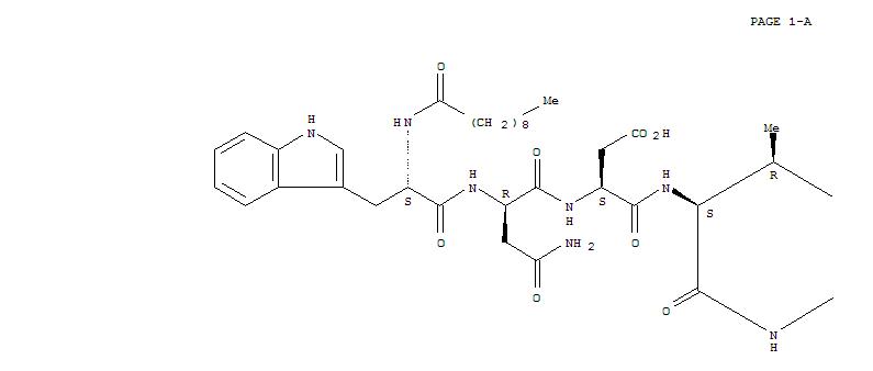 103060-53-3,Daptomycin,Benzenebutanoic acid, N-(1-oxodecyl)-L-tryptophyl-D-asparaginyl-L-a-aspartyl-L-threonylglycyl-L-ornithyl-L-a-aspartyl-D-alanyl-L-a-aspartylglycyl-D-seryl-(3R)-3-methyl-L-a-glutamyl-a,2-diamino-g-oxo-, (13?;4)-lactone, (aS)-;Cidecin;Cubicin;Dapcin;Daptomicina;Daptomycine;Daptomycinum;Deptomycin;LY 146032;N-(1-Oxodecyl)-L-tryptophyl-D-asparaginyl-L-a-aspartyl-L-threonylglycyl-L-ornithyl-L-a-aspartyl-D-alanyl-L-a-aspartylglycyl-D-seryl-(3R)-3-methyl-L-a-glutamyl-(aS)-a,2-diamino-g-oxobenzenebutanoicacid (13?;