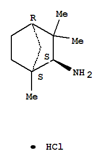 Molecular Structure of 131432-14-9 (Bicyclo[2.2.1]heptan-2-amine,1,3,3-trimethyl-, hydrochloride (1:1), (1S,2S,4R)-)