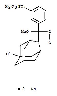 Molecular Structure of 142849-53-4 (Phenol,3-(5'-chloro-4-methoxyspiro[1,2-dioxetane-3,2'-tricyclo[3.3.1.13,7]decan]-4-yl)-,1-(dihydrogen phosphate), sodium salt (1:2))