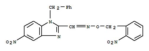 150445-96-8,1H-Benzimidazole-2-carboxaldehyde,5-nitro-1-(phenylmethyl)-, O-[(2-nitrophenyl)methyl]oxime,5-Nitro-1-(phenylmethyl)-1H-benzimidazole-2-carboxaldehyde, O-((2-nitrophenyl)methyl)oxime;(E)-1-(1-Benzyl-5-nitro-1H-benzimidazol-2-yl)-N-[(2-nitrobenzyl)oxy]methanimine;CCRIS 6570;