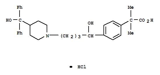 Molecular Structure of 153439-40-8 (Benzeneaceticacid, 4-[1-hydroxy-4-[4-(hydroxydiphenylmethyl)-1-piperidinyl]butyl]-a,a-dimethyl-,hydrochloride (1:1))