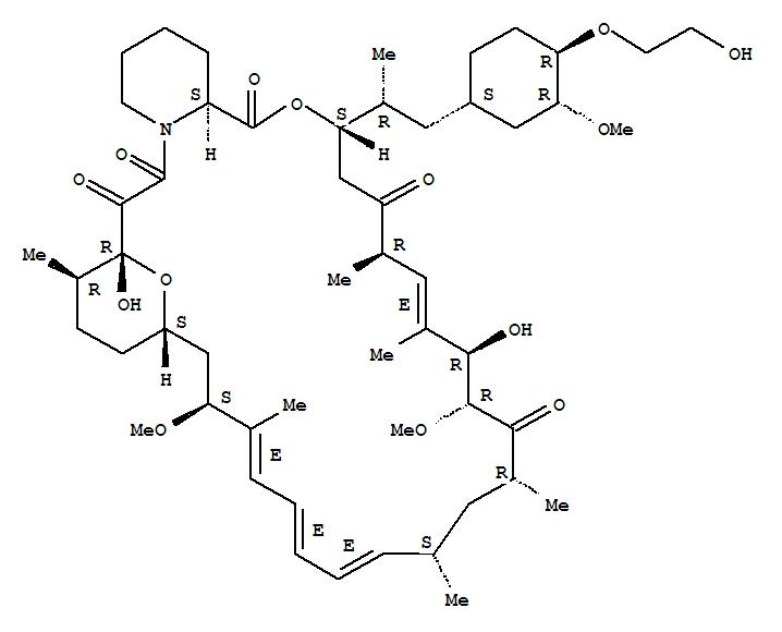 159351-69-6,Rapamycin,42-O-(2-hydroxyethyl)-,40-O-(2-Hydroxyethyl)rapamycin;42-O-(2-Hydroxy)ethylrapamycin;Certican;RAD;RAD 001;SDZ-RAD;XIENCE V;