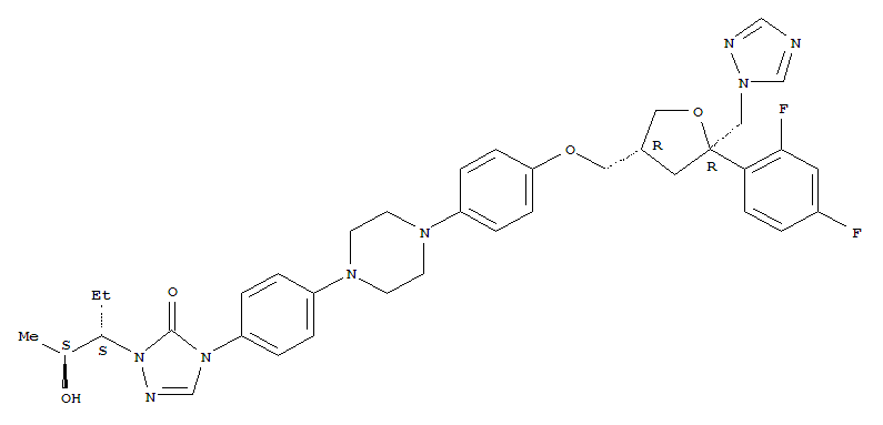 Molecular Structure of 171228-49-2 (D-threo-Pentitol,2,5-anhydro-1,3,4-trideoxy-2-C-(2,4-difluorophenyl)-4-[[4-[4-[4-[1-[(1S,2S)-1-ethyl-2-hydroxypropyl]-1,5-dihydro-5-oxo-4H-1,2,4-triazol-4-yl]phenyl]-1-piperazinyl]phenoxy]methyl]-1-(1H-1,2,4-triazol-1-yl)-)