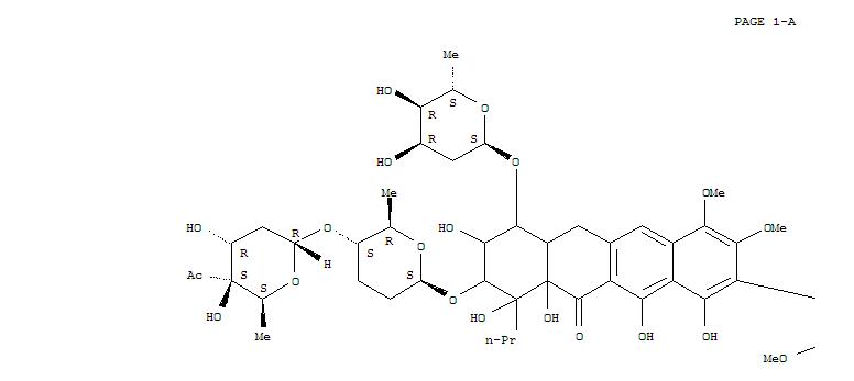 208588-90-3,1,5-Epoxynaphthacene-7,10,12(2H)-trione,2-[[(2R,5R,6S)-5-[(4-C-acetyl-2,6-dideoxy-a-D-xylo-hexopyranosyl)oxy]tetrahydro-6-methyl-2H-pyran-2-yl]oxy]-9-[9-[[(2R,5R,6S)-5-[(4-C-acetyl-2,6-dideoxy-a-D-xylo-hexopyranosyl)oxy]tetrahydro-6-methyl-2H-pyran-2-yl]oxy]-7-[(2,6-dideoxy-a-D-ribo-hexopyranosyl)oxy]-6,6a,7,8,9,10,10a,11-octahydro-1,8,10,10a,12-pentahydroxy-3,4-dimethoxy-11-oxo-10-propyl-2-naphthacenyl]-4-[(2,6-dideoxy-a-D-ribo-hexopyranosyl)oxy]-1,3,4,4a,5,12a-hexahydro-3,6,11,12a-tetrahydroxy-8-methoxy-1,HibarimicinG