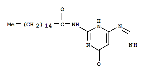 21047-87-0,Hexadecanamide, N-(6,9-dihydro-6-oxo-1H-purin-2-yl)-,Hexadecanamide, N-(1,6-dihydro-6-oxopurin-2-yl)- (8CI); Hexadecanamide, N-(3,6-dihydro-6-oxo-1H-purin-2-yl)- (9CI);N2-Palmitoylguanine; NSC 132100