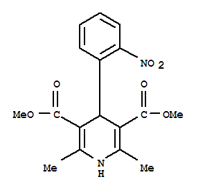 CAS NO:21829-25-4 3,5-Pyridinedicarboxylic acid, 1,4-dihydro-2,6-dimethyl-4-(2-nitrophenyl)-, dimethyl ester Molecular Structure