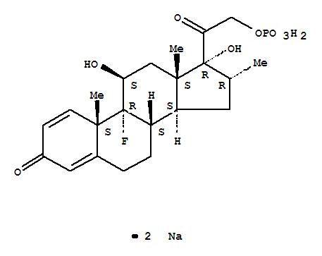 Molecular Structure of 2392-39-4 (Pregna-1,4-diene-3,20-dione,9-fluoro-11,17-dihydroxy-16-methyl-21-(phosphonooxy)-, sodium salt (1:2), (11b,16a)-)