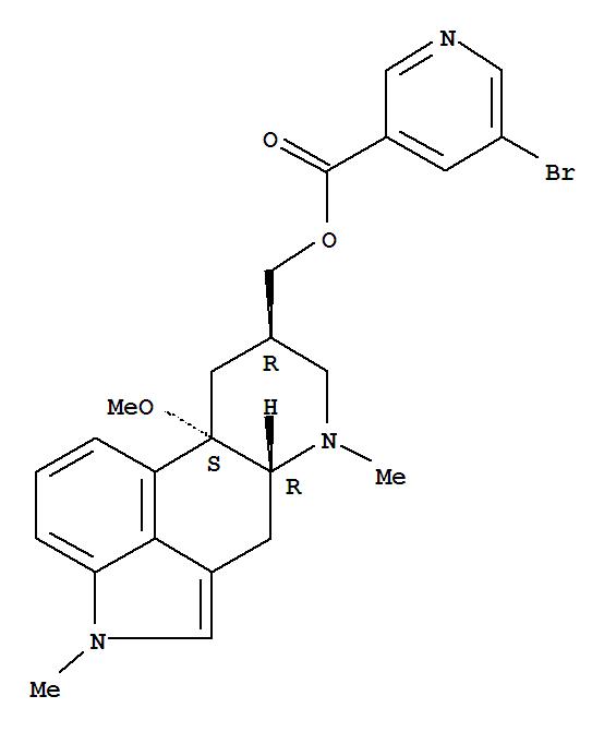 Molecular Structure of 27848-84-6 (Ergoline-8-methanol,10-methoxy-1,6-dimethyl-, 8-(5-bromo-3-pyridinecarboxylate), (8b)-)