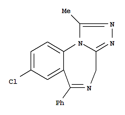 Molecular Structure of 28981-97-7 (4H-[1,2,4]Triazolo[4,3-a][1,4]benzodiazepine,8-chloro-1-methyl-6-phenyl-)