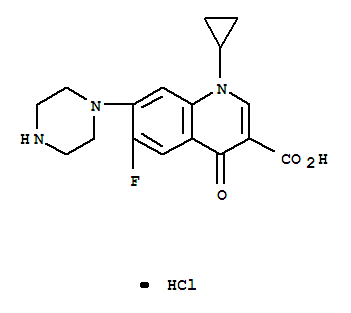 Molecular Structure of 93107-08-5 (3-Quinolinecarboxylicacid, 1-cyclopropyl-6-fluoro-1,4-dihydro-4-oxo-7-(1-piperazinyl)-,hydrochloride (1:1))