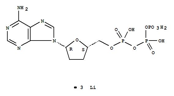 Molecular Structure of 93939-70-9 (Adenosine5'-(tetrahydrogen triphosphate), 2',3'-dideoxy-, trilithium salt (9CI))