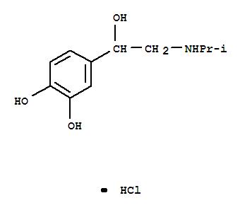Molecular Structure of 949-36-0 (1,2-Benzenediol,4-[1-hydroxy-2-[(1-methylethyl)amino]ethyl]-, hydrochloride (1:1))